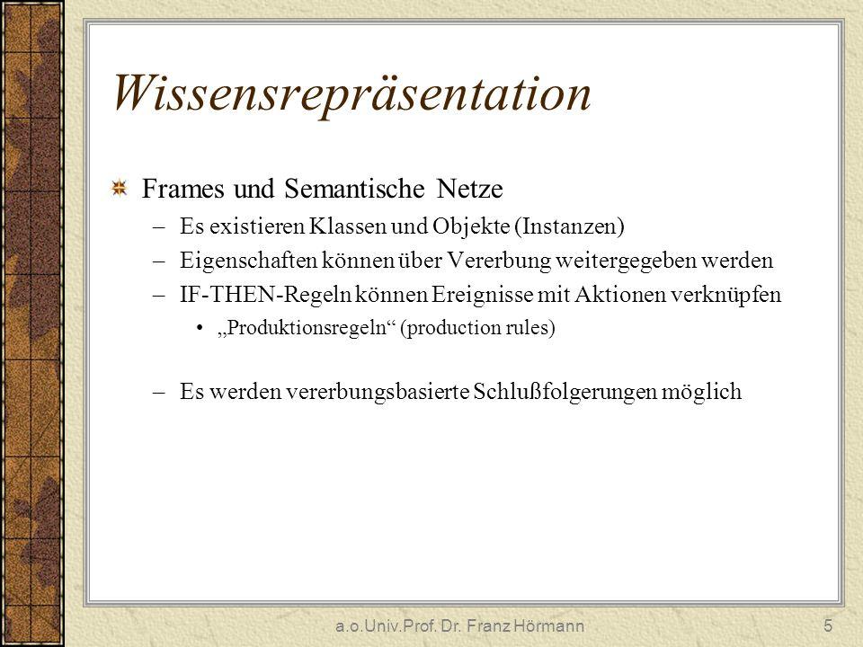a.o.Univ.Prof. Dr. Franz Hörmann5 Wissensrepräsentation Frames und Semantische Netze –Es existieren Klassen und Objekte (Instanzen) –Eigenschaften kön