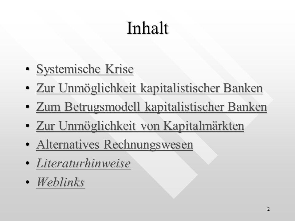 3 Systemische Krise Hypothese: Das kapitalistische Wirtschaftssystem besitzt zwei Unmöglichkeiten: Banken undBanken und KapitalmärkteKapitalmärkte Beides kann, aus wissenschaftlicher Sicht, nicht funktionieren.
