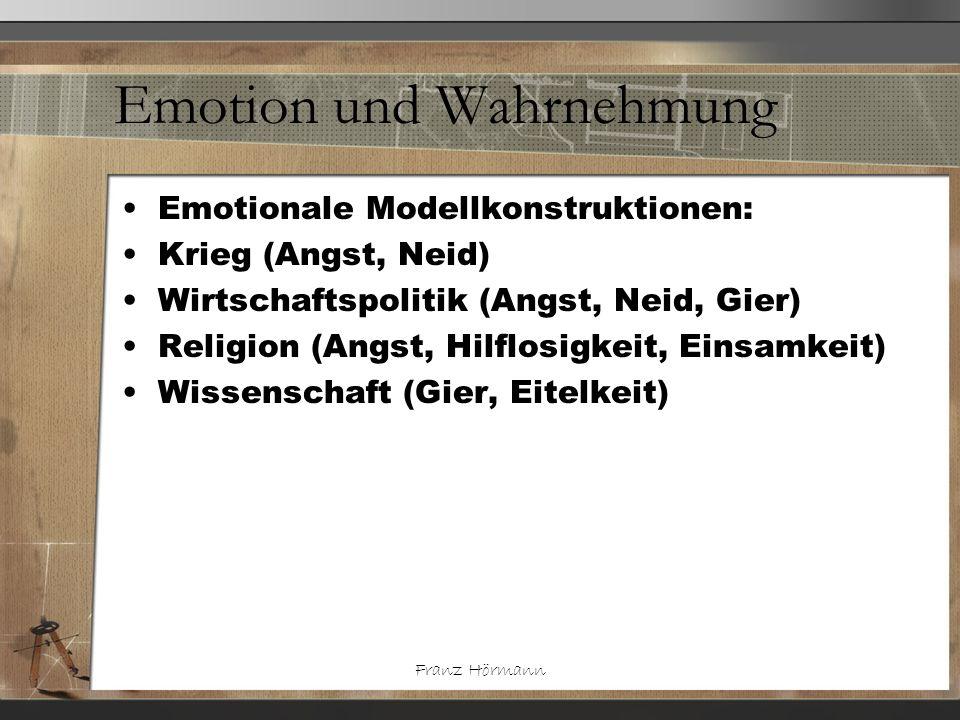 Franz Hörmann Emotion und Wahrnehmung Emotionale Modellkonstruktionen: Krieg (Angst, Neid) Wirtschaftspolitik (Angst, Neid, Gier) Religion (Angst, Hil