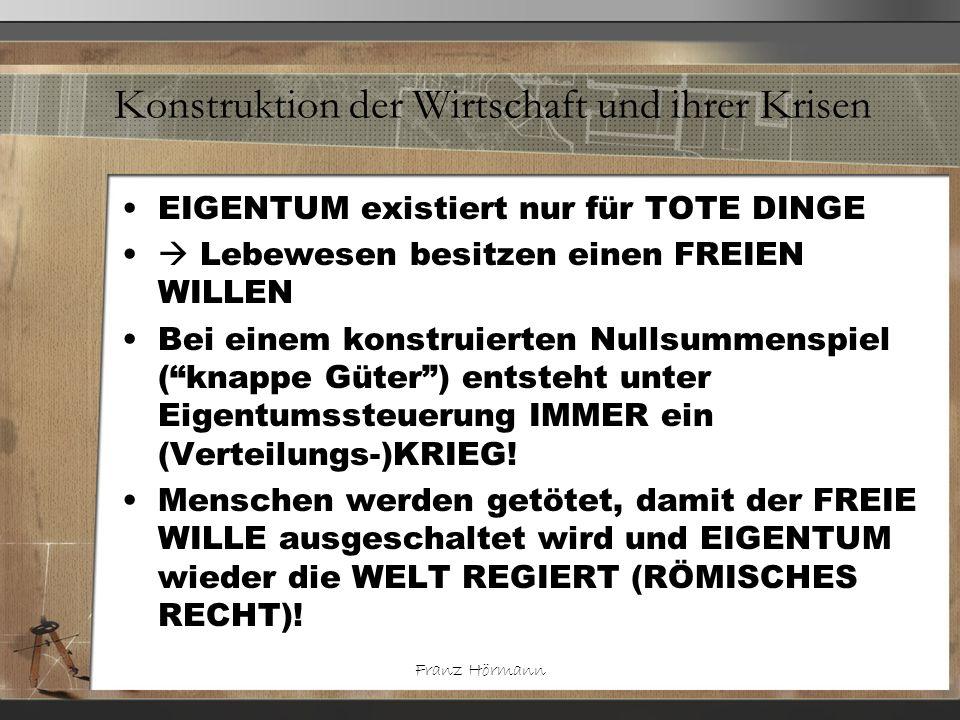 Franz Hörmann Konstruktion der Wirtschaft und ihrer Krisen EIGENTUM existiert nur für TOTE DINGE Lebewesen besitzen einen FREIEN WILLEN Bei einem kons