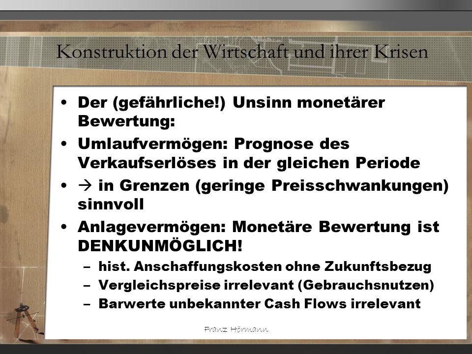 Franz Hörmann Konstruktion der Wirtschaft und ihrer Krisen Der (gefährliche!) Unsinn monetärer Bewertung: Umlaufvermögen: Prognose des Verkaufserlöses