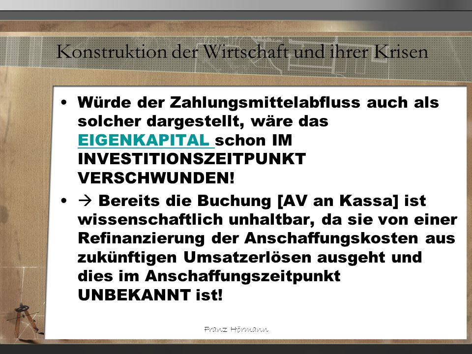 Franz Hörmann Konstruktion der Wirtschaft und ihrer Krisen Würde der Zahlungsmittelabfluss auch als solcher dargestellt, wäre das EIGENKAPITAL schon I