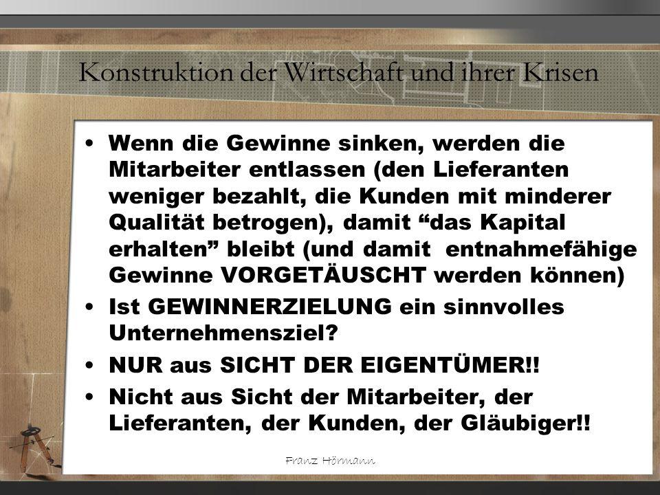 Franz Hörmann Konstruktion der Wirtschaft und ihrer Krisen Wenn die Gewinne sinken, werden die Mitarbeiter entlassen (den Lieferanten weniger bezahlt,