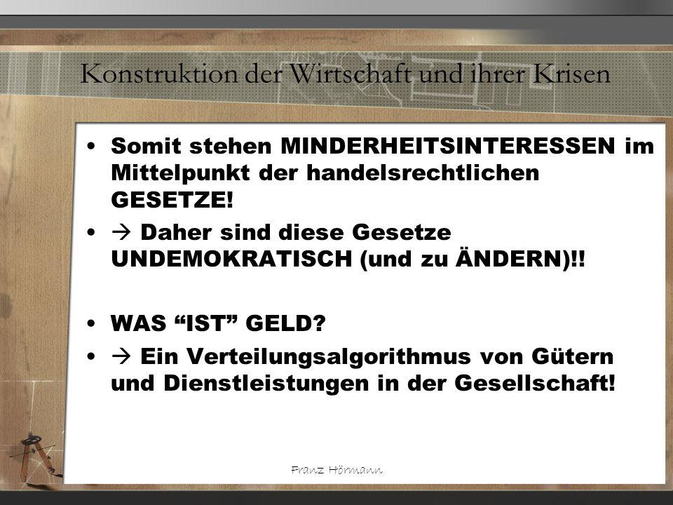Franz Hörmann Konstruktion der Wirtschaft und ihrer Krisen Somit stehen MINDERHEITSINTERESSEN im Mittelpunkt der handelsrechtlichen GESETZE! Daher sin