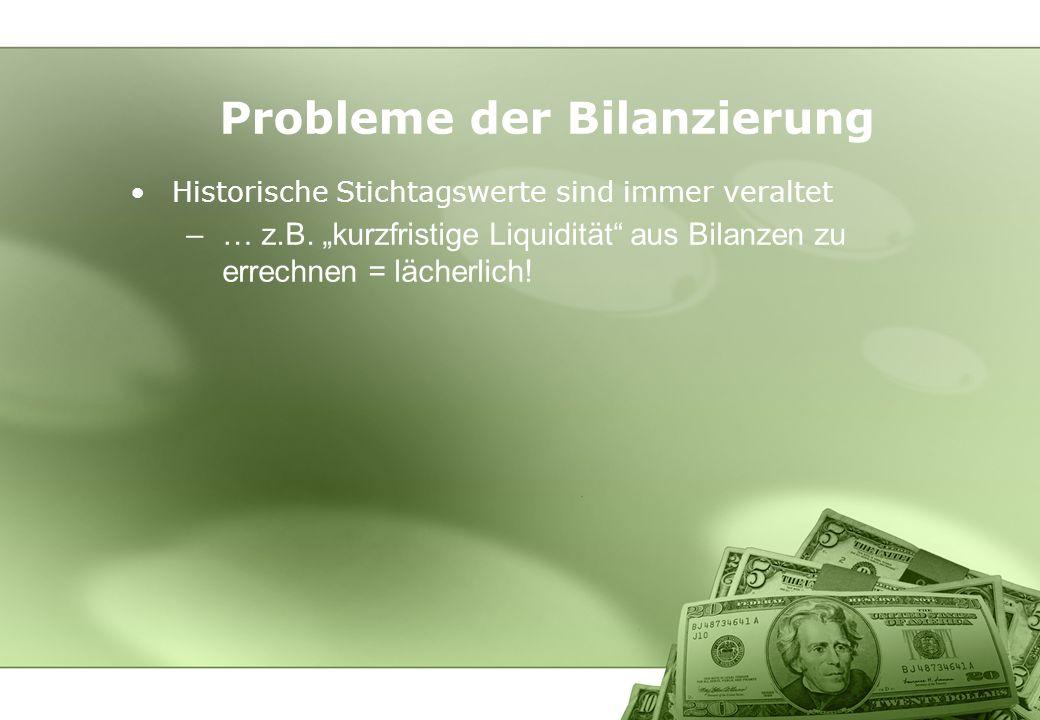 Historische Stichtagswerte sind immer veraltet –… z.B. kurzfristige Liquidität aus Bilanzen zu errechnen = lächerlich! Probleme der Bilanzierung