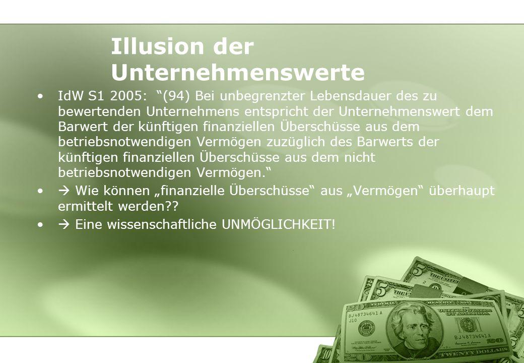 IdW S1 2005: (94) Bei unbegrenzter Lebensdauer des zu bewertenden Unternehmens entspricht der Unternehmenswert dem Barwert der künftigen finanziellen