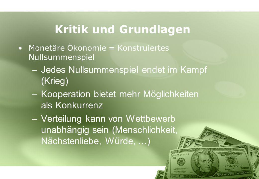 Kritik und Grundlagen Monetäre Ökonomie = Konstruiertes Nullsummenspiel –Jedes Nullsummenspiel endet im Kampf (Krieg) –Kooperation bietet mehr Möglich