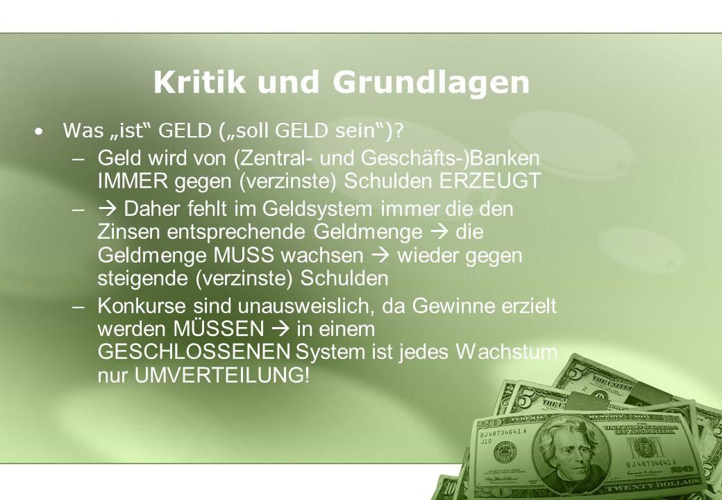 Kritik und Grundlagen Was ist GELD (soll GELD sein)? –Geld wird von (Zentral- und Geschäfts-)Banken IMMER gegen (verzinste) Schulden ERZEUGT – Daher f