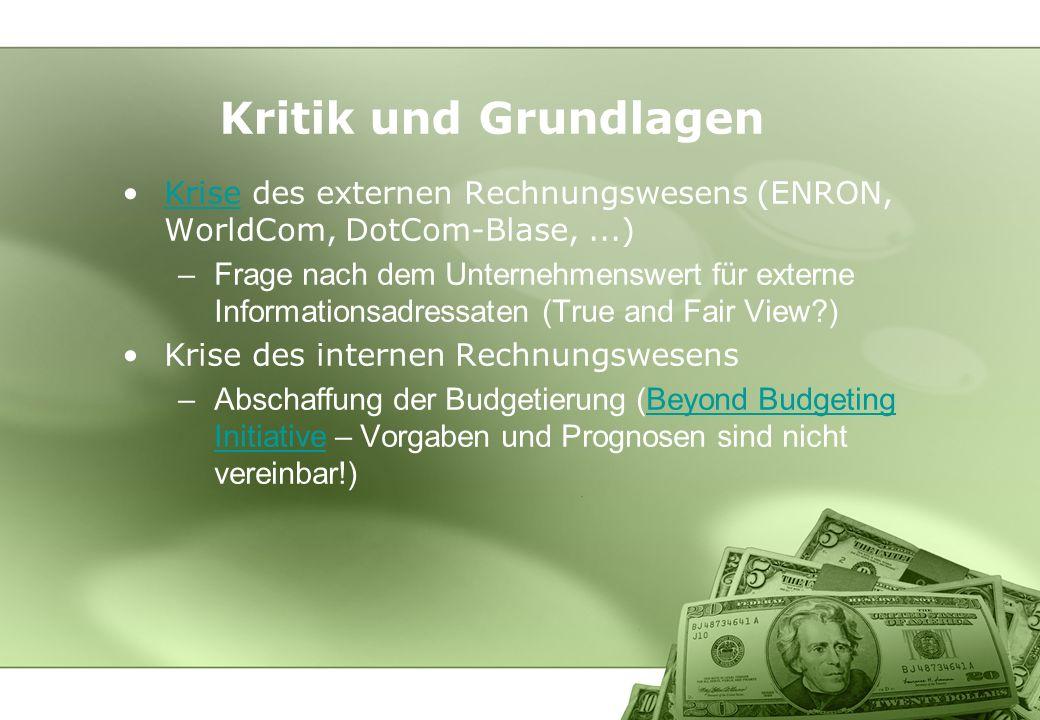 Kritik und Grundlagen Krise des externen Rechnungswesens (ENRON, WorldCom, DotCom-Blase,...)Krise –Frage nach dem Unternehmenswert für externe Informa