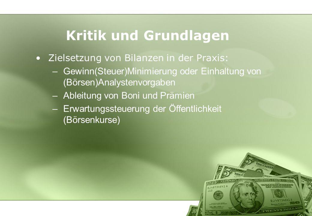 Zielsetzung von Bilanzen in der Praxis: –Gewinn(Steuer)Minimierung oder Einhaltung von (Börsen)Analystenvorgaben –Ableitung von Boni und Prämien –Erwa
