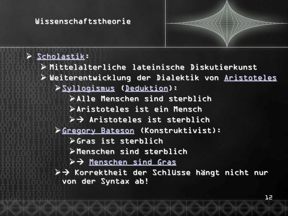 12Wissenschaftstheorie Scholastik: Scholastik: Scholastik Mittelalterliche lateinische Diskutierkunst Mittelalterliche lateinische Diskutierkunst Weit