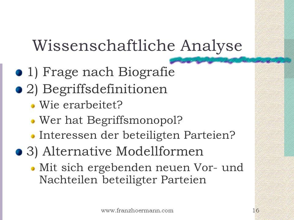 www.franzhoermann.com16 Wissenschaftliche Analyse 1) Frage nach Biografie 2) Begriffsdefinitionen Wie erarbeitet? Wer hat Begriffsmonopol? Interessen