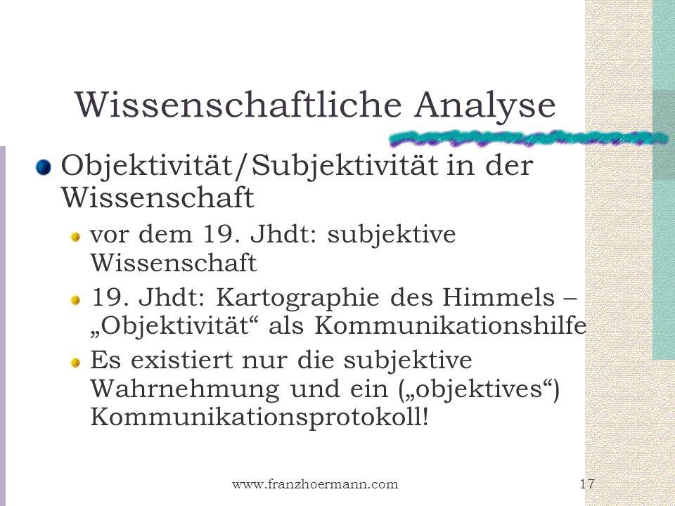 www.franzhoermann.com17 Wissenschaftliche Analyse Objektivität/Subjektivität in der Wissenschaft vor dem 19. Jhdt: subjektive Wissenschaft 19. Jhdt: K