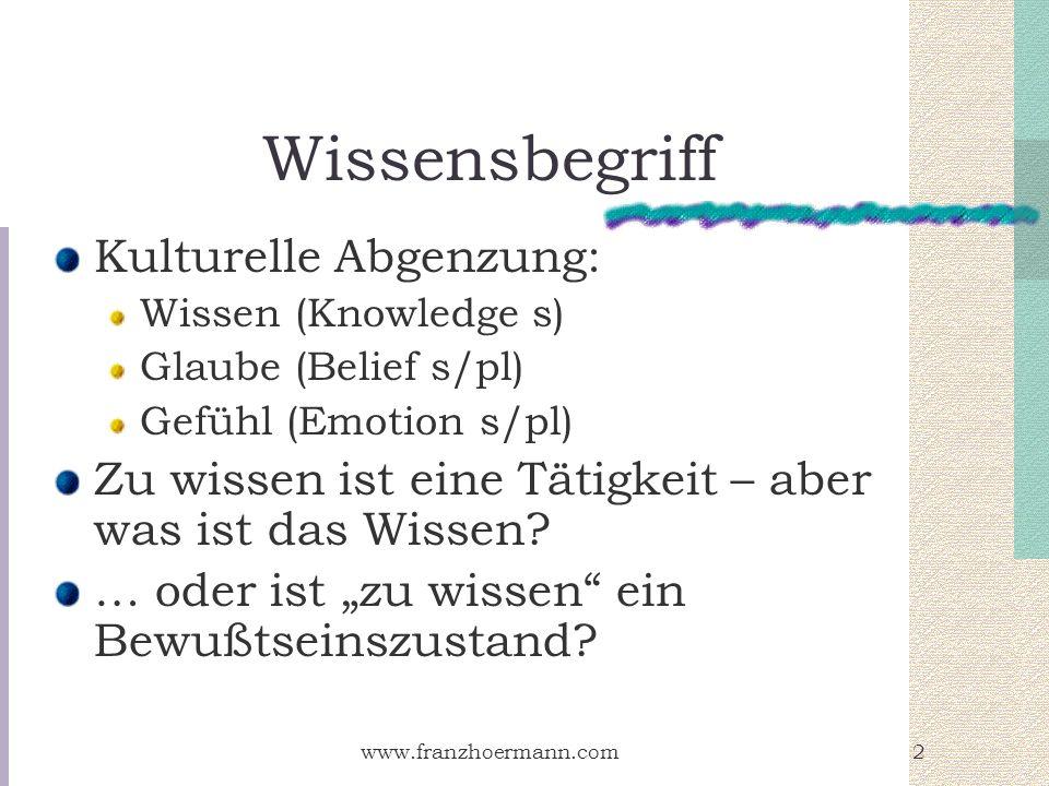 www.franzhoermann.com2 Wissensbegriff Kulturelle Abgenzung: Wissen (Knowledge s) Glaube (Belief s/pl) Gefühl (Emotion s/pl) Zu wissen ist eine Tätigke