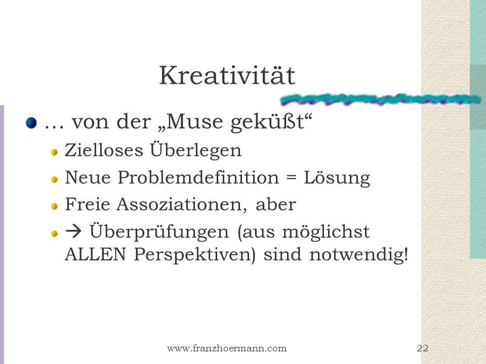 www.franzhoermann.com22 Kreativität … von der Muse geküßt Zielloses Überlegen Neue Problemdefinition = Lösung Freie Assoziationen, aber Überprüfungen