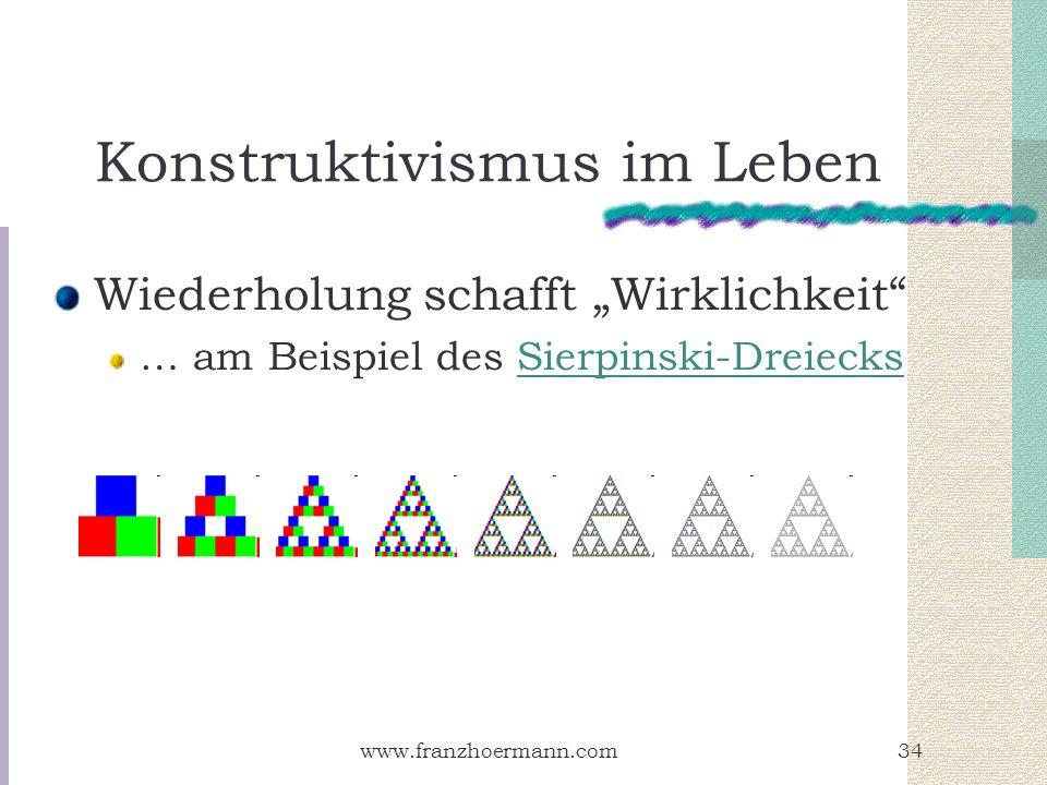 www.franzhoermann.com34 Konstruktivismus im Leben Wiederholung schafft Wirklichkeit … am Beispiel des Sierpinski-DreiecksSierpinski-Dreiecks
