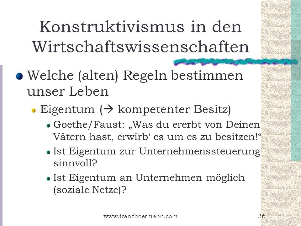 www.franzhoermann.com36 Konstruktivismus in den Wirtschaftswissenschaften Welche (alten) Regeln bestimmen unser Leben Eigentum ( kompetenter Besitz) G