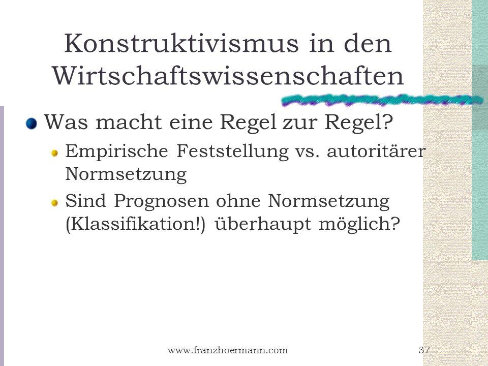 www.franzhoermann.com37 Konstruktivismus in den Wirtschaftswissenschaften Was macht eine Regel zur Regel? Empirische Feststellung vs. autoritärer Norm