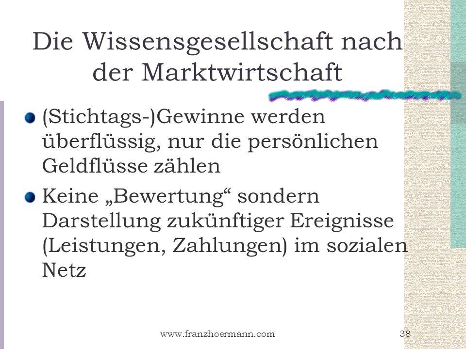www.franzhoermann.com38 Die Wissensgesellschaft nach der Marktwirtschaft (Stichtags-)Gewinne werden überflüssig, nur die persönlichen Geldflüsse zähle
