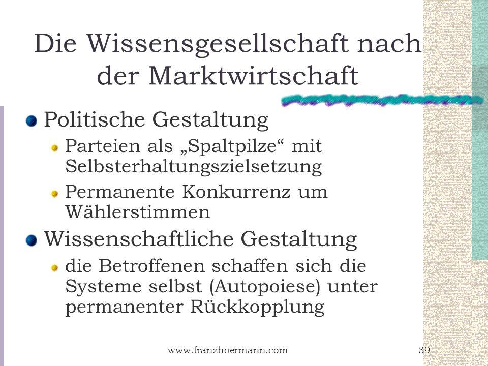 www.franzhoermann.com39 Die Wissensgesellschaft nach der Marktwirtschaft Politische Gestaltung Parteien als Spaltpilze mit Selbsterhaltungszielsetzung