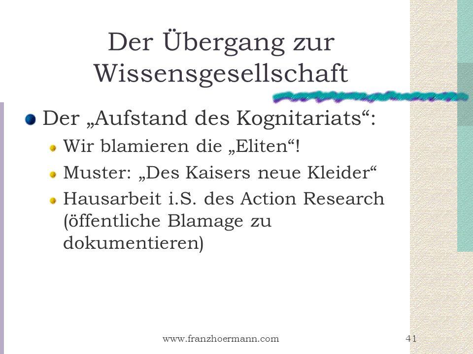 www.franzhoermann.com41 Der Übergang zur Wissensgesellschaft Der Aufstand des Kognitariats: Wir blamieren die Eliten! Muster: Des Kaisers neue Kleider