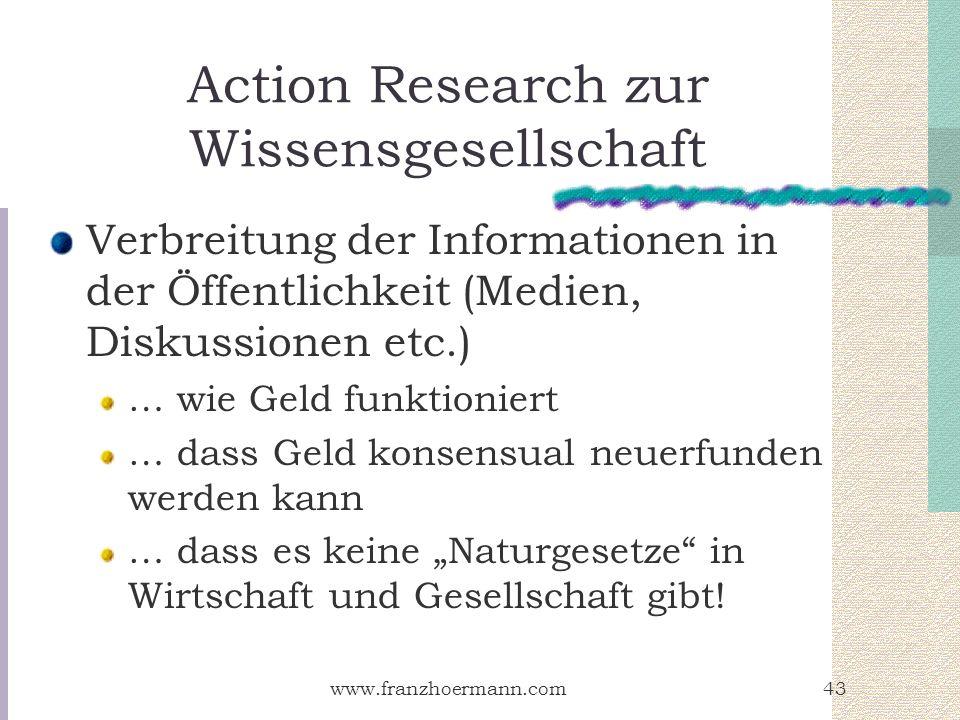 www.franzhoermann.com43 Action Research zur Wissensgesellschaft Verbreitung der Informationen in der Öffentlichkeit (Medien, Diskussionen etc.) … wie