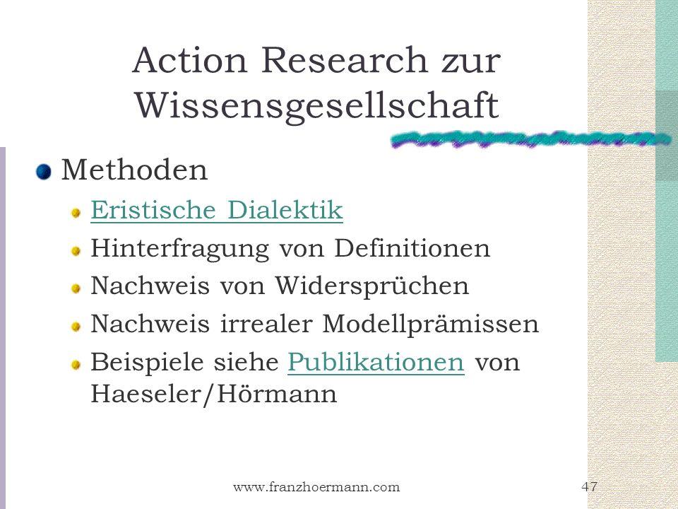 www.franzhoermann.com47 Action Research zur Wissensgesellschaft Methoden Eristische Dialektik Hinterfragung von Definitionen Nachweis von Widersprüche