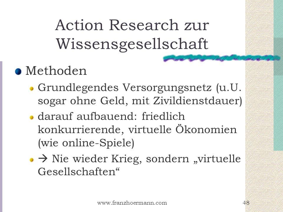 www.franzhoermann.com48 Action Research zur Wissensgesellschaft Methoden Grundlegendes Versorgungsnetz (u.U. sogar ohne Geld, mit Zivildienstdauer) da