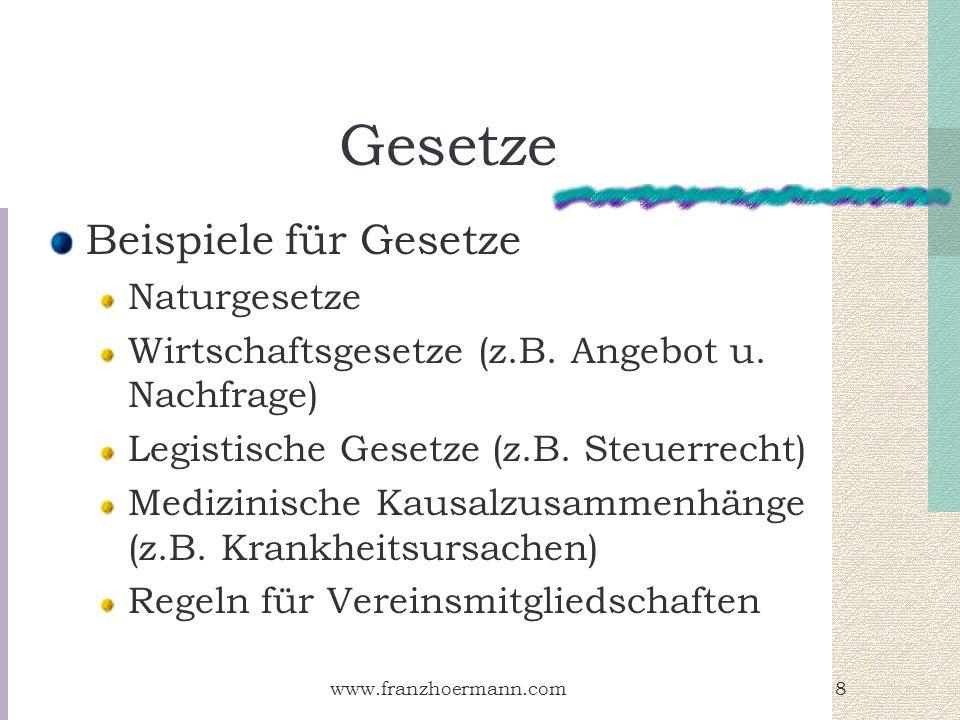 www.franzhoermann.com8 Gesetze Beispiele für Gesetze Naturgesetze Wirtschaftsgesetze (z.B. Angebot u. Nachfrage) Legistische Gesetze (z.B. Steuerrecht