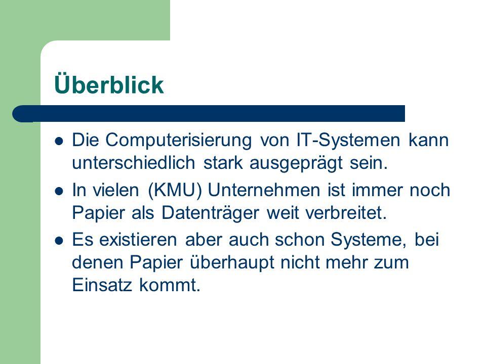 Überblick Die Computerisierung von IT-Systemen kann unterschiedlich stark ausgeprägt sein. In vielen (KMU) Unternehmen ist immer noch Papier als Daten