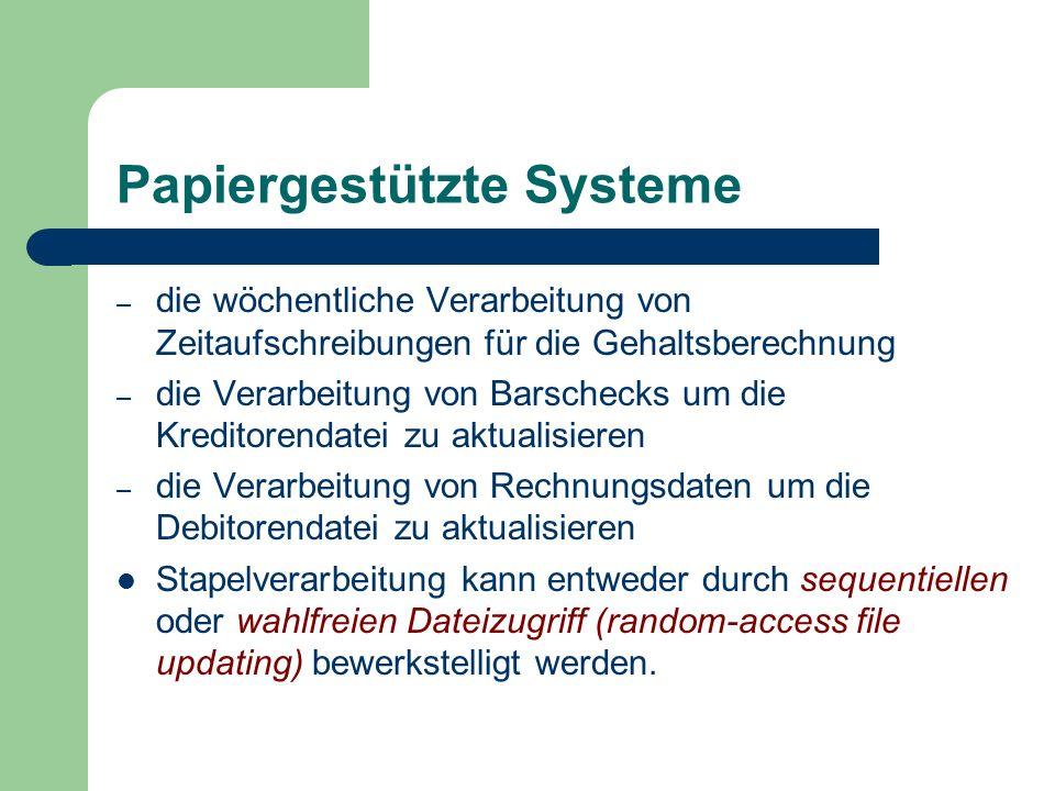 Papiergestützte Systeme – die wöchentliche Verarbeitung von Zeitaufschreibungen für die Gehaltsberechnung – die Verarbeitung von Barschecks um die Kre
