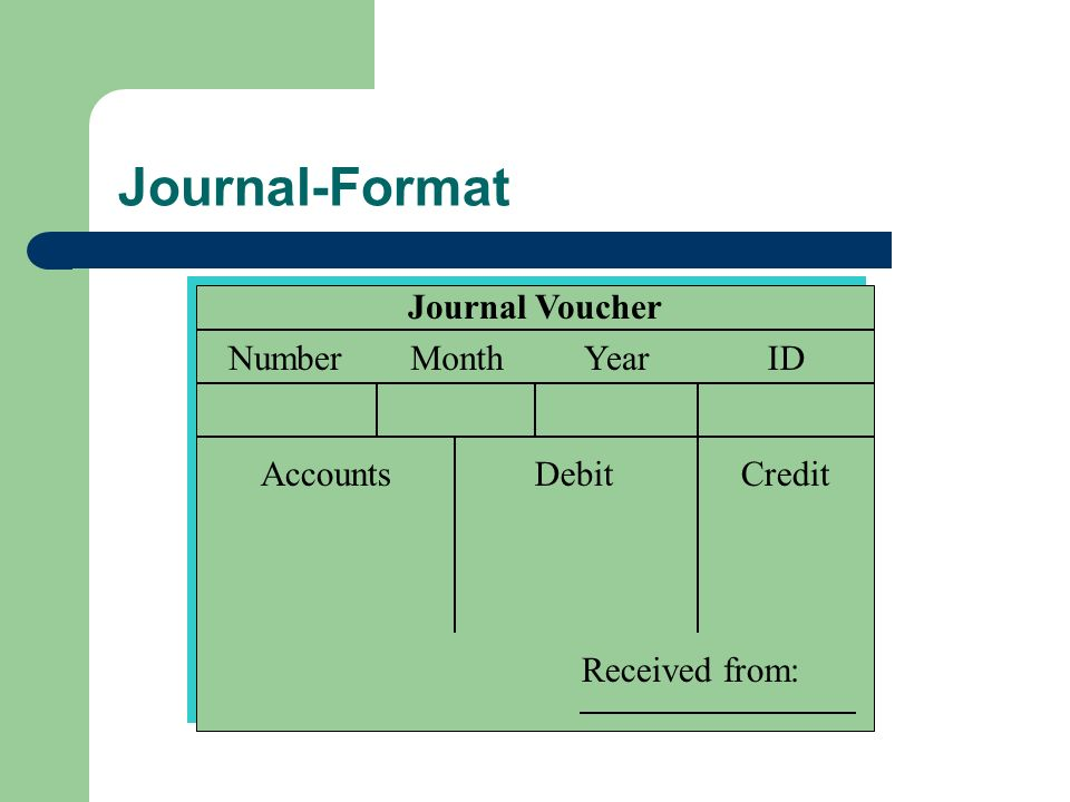 Journal-Format Journal Voucher NumberMonthYearID AccountsDebitCredit Received from: