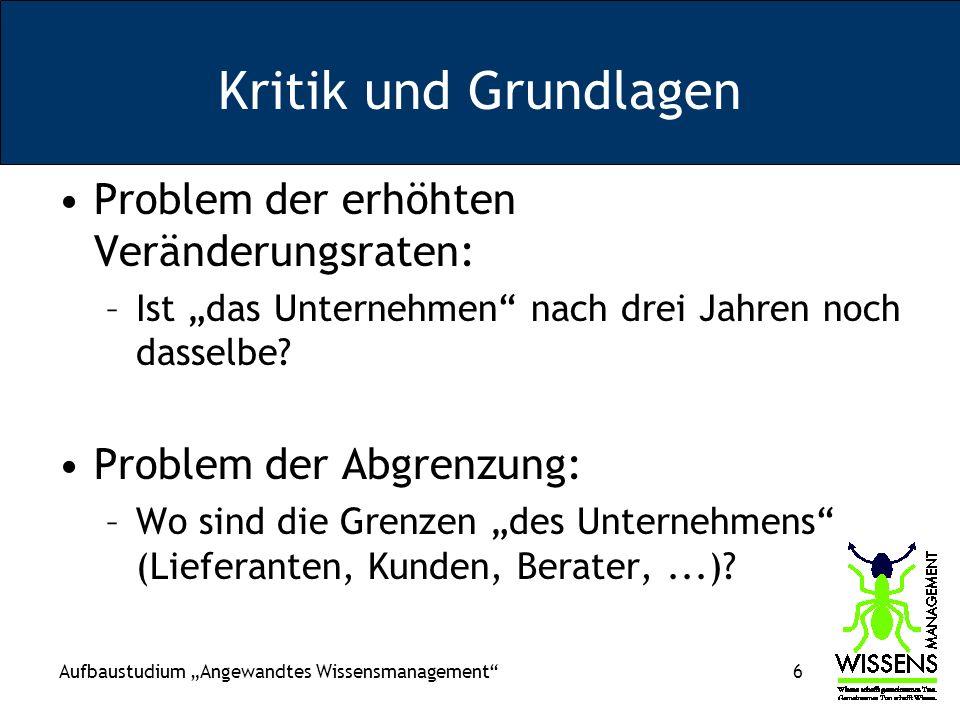 Aufbaustudium Angewandtes Wissensmanagement 87 Ereignisorientiertes Rechnungswesen (George Sorter bzw.