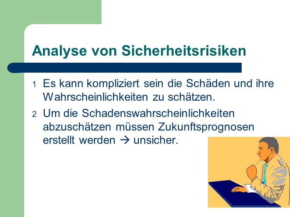 Analyse von Sicherheitsrisiken 1 Es kann kompliziert sein die Schäden und ihre Wahrscheinlichkeiten zu schätzen. 2 Um die Schadenswahrscheinlichkeiten