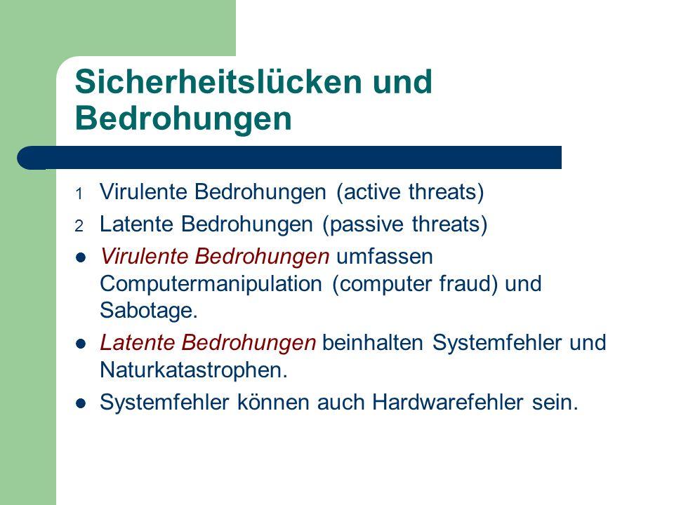 Sicherheitslücken und Bedrohungen 1 Virulente Bedrohungen (active threats) 2 Latente Bedrohungen (passive threats) Virulente Bedrohungen umfassen Comp
