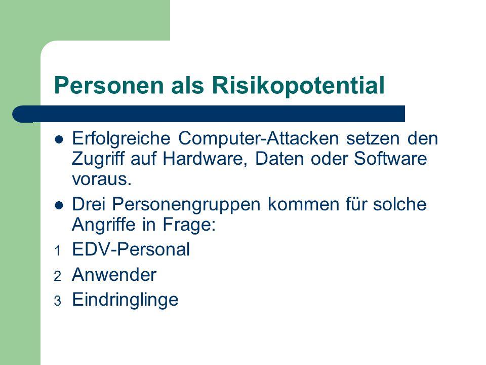 Personen als Risikopotential Erfolgreiche Computer-Attacken setzen den Zugriff auf Hardware, Daten oder Software voraus. Drei Personengruppen kommen f