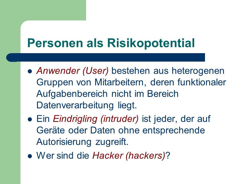 Personen als Risikopotential Anwender (User) bestehen aus heterogenen Gruppen von Mitarbeitern, deren funktionaler Aufgabenbereich nicht im Bereich Da
