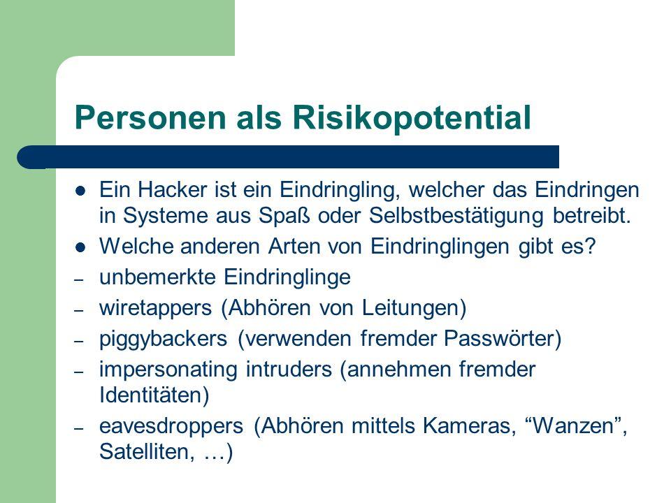 Personen als Risikopotential Ein Hacker ist ein Eindringling, welcher das Eindringen in Systeme aus Spaß oder Selbstbestätigung betreibt. Welche ander