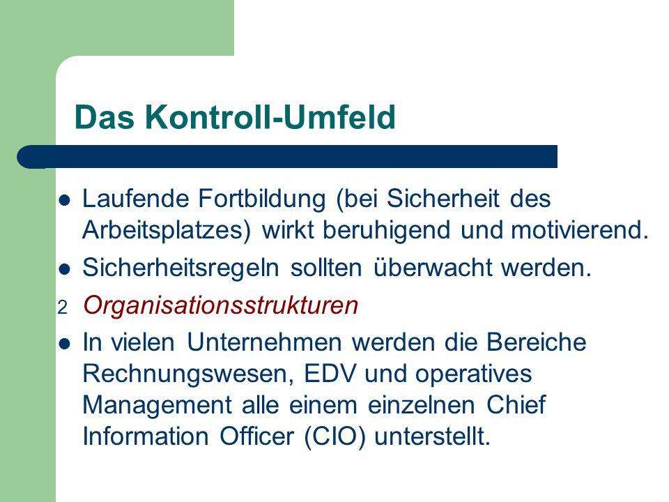 Das Kontroll-Umfeld Laufende Fortbildung (bei Sicherheit des Arbeitsplatzes) wirkt beruhigend und motivierend. Sicherheitsregeln sollten überwacht wer