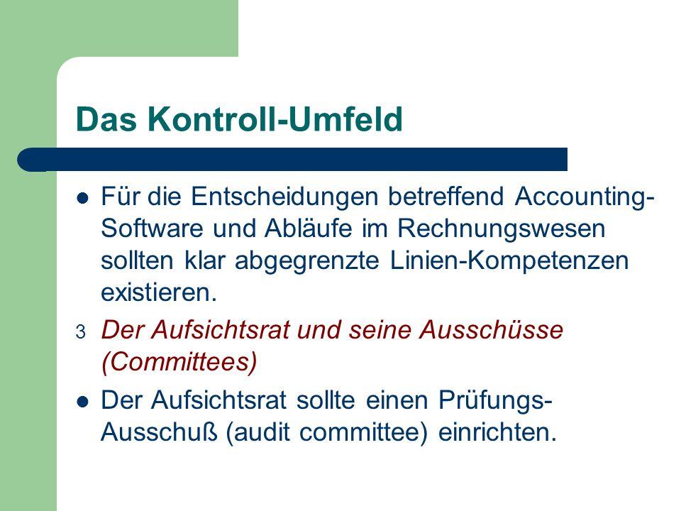 Das Kontroll-Umfeld Für die Entscheidungen betreffend Accounting- Software und Abläufe im Rechnungswesen sollten klar abgegrenzte Linien-Kompetenzen e