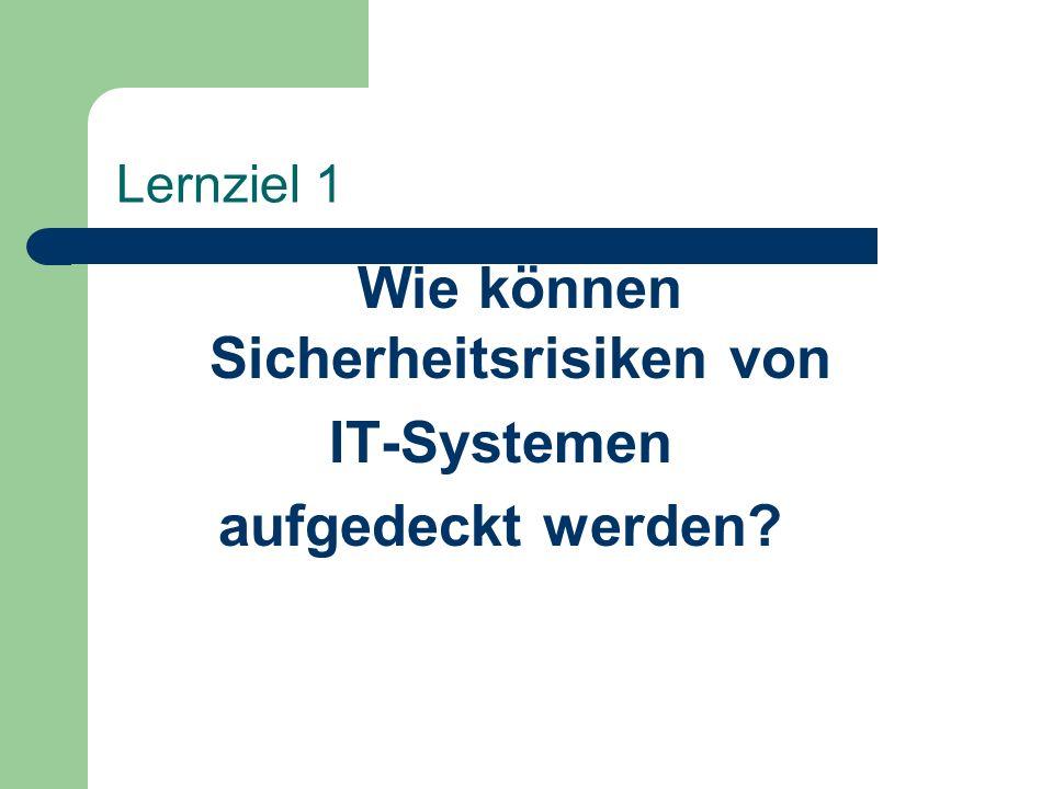Lernziel 1 Wie können Sicherheitsrisiken von IT-Systemen aufgedeckt werden?