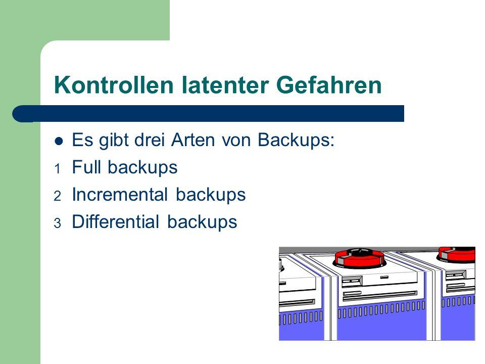 Kontrollen latenter Gefahren Es gibt drei Arten von Backups: 1 Full backups 2 Incremental backups 3 Differential backups