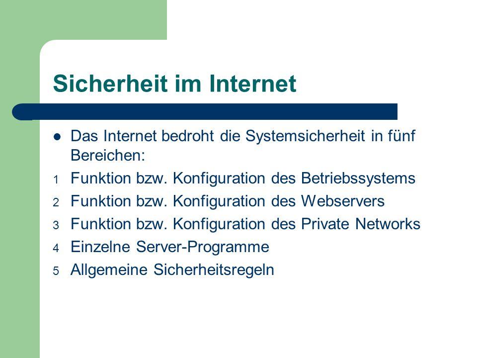 Sicherheit im Internet Das Internet bedroht die Systemsicherheit in fünf Bereichen: 1 Funktion bzw. Konfiguration des Betriebssystems 2 Funktion bzw.