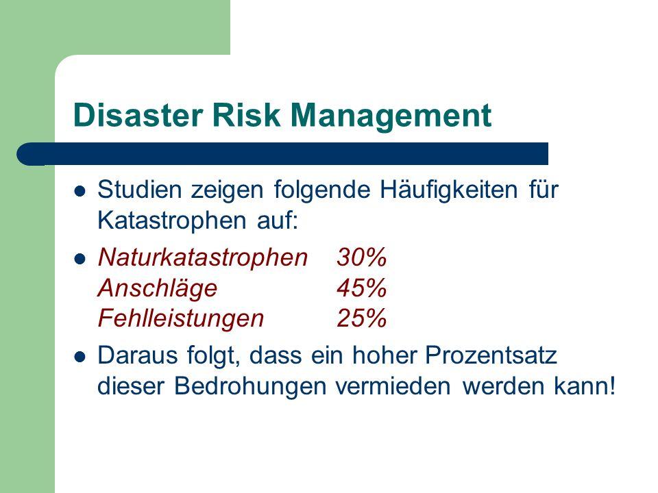 Disaster Risk Management Studien zeigen folgende Häufigkeiten für Katastrophen auf: Naturkatastrophen30% Anschläge45% Fehlleistungen25% Daraus folgt,