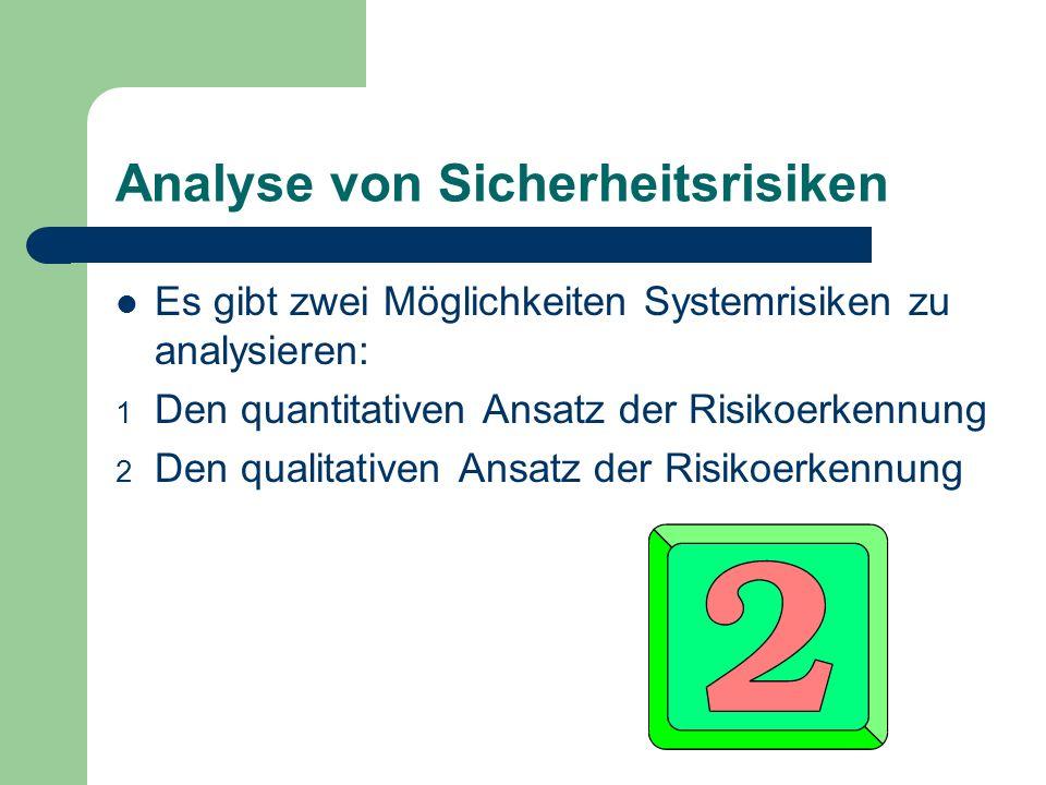 Analyse von Sicherheitsrisiken Es gibt zwei Möglichkeiten Systemrisiken zu analysieren: 1 Den quantitativen Ansatz der Risikoerkennung 2 Den qualitati
