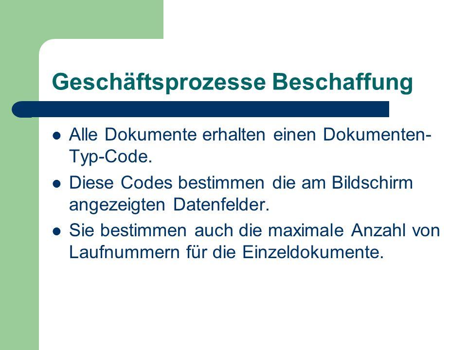Geschäftsprozesse Beschaffung Alle Dokumente erhalten einen Dokumenten- Typ-Code. Diese Codes bestimmen die am Bildschirm angezeigten Datenfelder. Sie