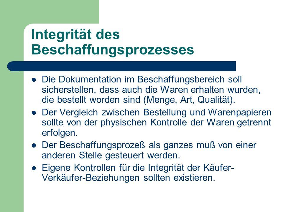Integrität des Beschaffungsprozesses Die Dokumentation im Beschaffungsbereich soll sicherstellen, dass auch die Waren erhalten wurden, die bestellt wo