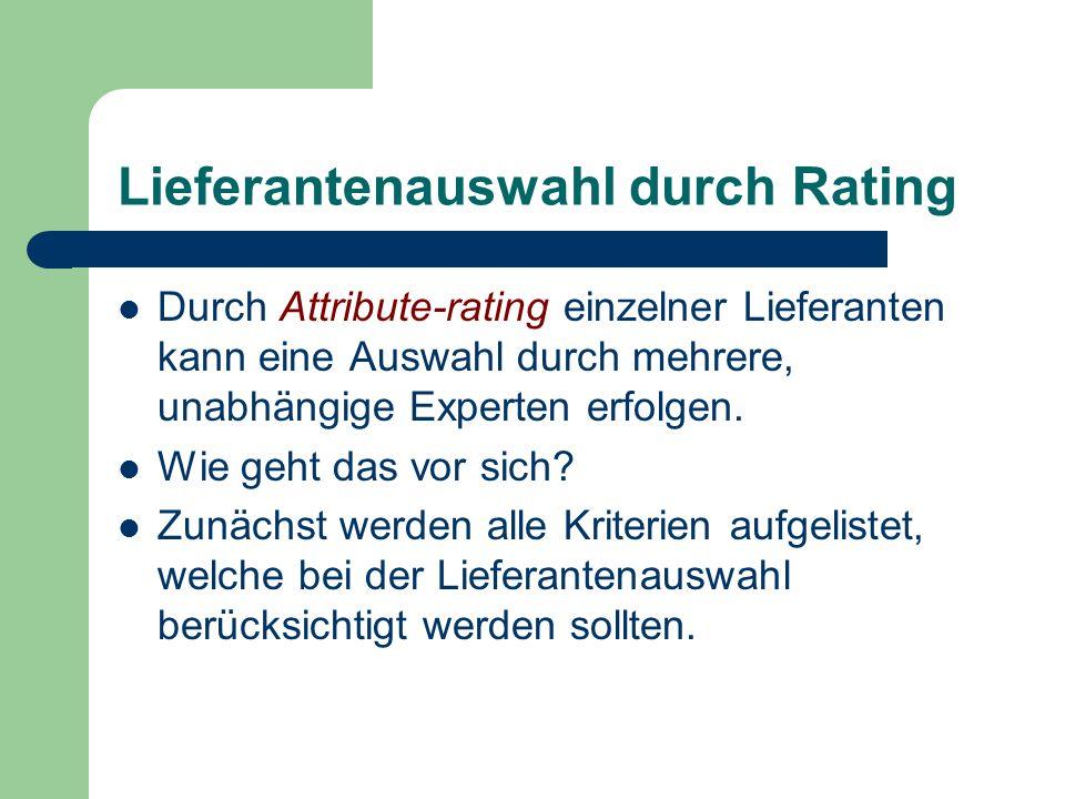 Lieferantenauswahl durch Rating Durch Attribute-rating einzelner Lieferanten kann eine Auswahl durch mehrere, unabhängige Experten erfolgen. Wie geht