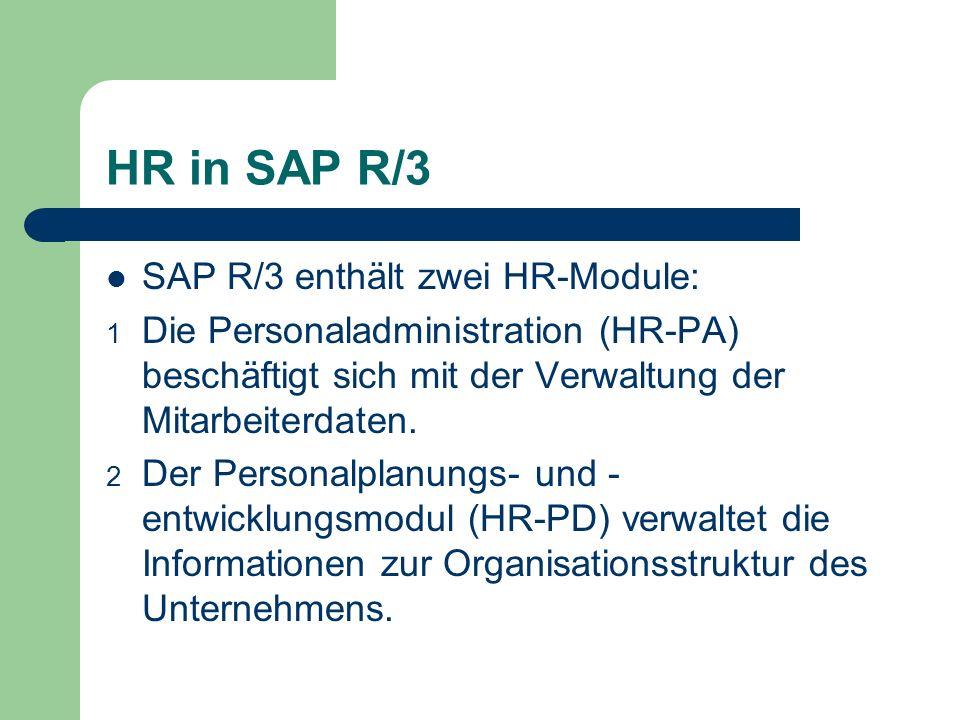 HR in SAP R/3 SAP R/3 enthält zwei HR-Module: 1 Die Personaladministration (HR-PA) beschäftigt sich mit der Verwaltung der Mitarbeiterdaten. 2 Der Per