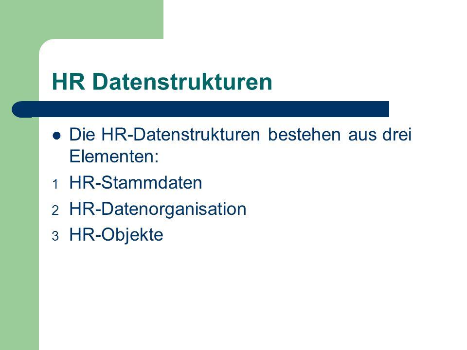 HR Datenstrukturen Die HR-Datenstrukturen bestehen aus drei Elementen: 1 HR-Stammdaten 2 HR-Datenorganisation 3 HR-Objekte